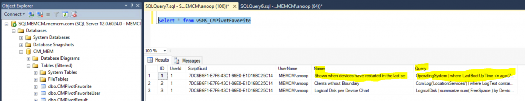 ConfigMgr CMPivot Favorite Query | SCCM  SQL Query to find out Saved | vSMS_CMPivotFavorite