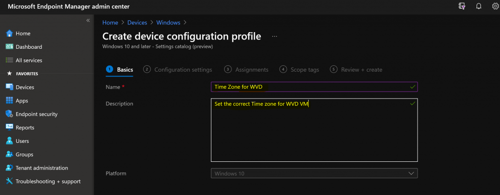 How to Set Time Zone for WVD VMs with Endpoint Manager | Intune Policies | Settings Catalog