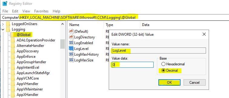 ConfigMgr Client Enable Verbose Logging Debug Logging | SCCM