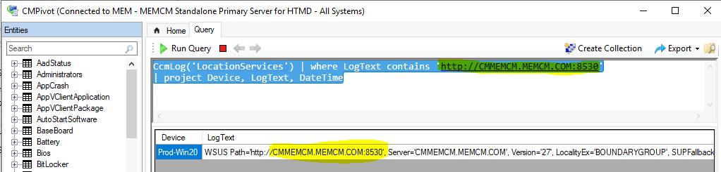 ConfigMgr CMPivot Query to Fetch WSUS Server Details of the Clients | SCCM