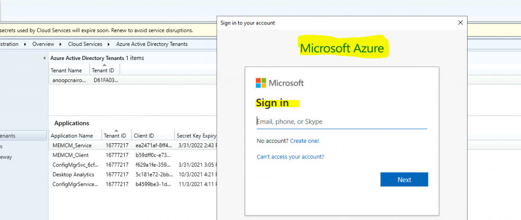 ConfigMgr Renew One or more Azure AD App Secrets used by Cloud Services | SCCM