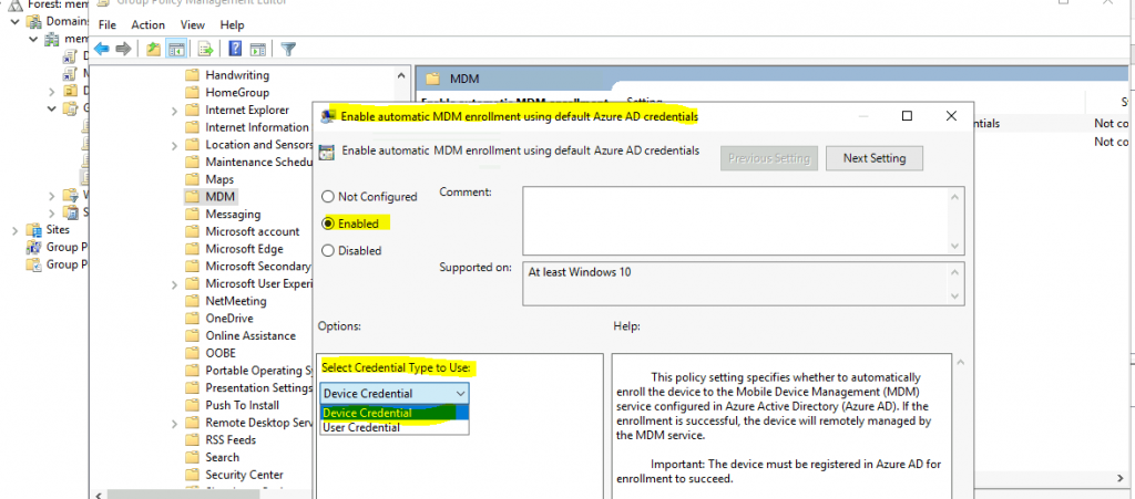Windows 10 Intune Enrollment using Group Policy   Automatic Enrollment   WVD