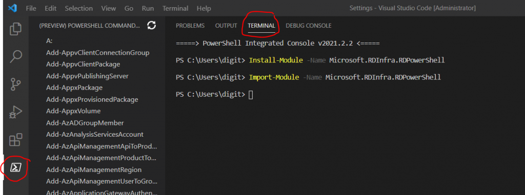 WVD Management Using Visual Studio Code Instead of PowerShell ISE 4