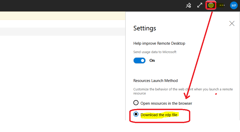 Download WVD Session Desktop RDP File | RDPW File to Check RDP Settings