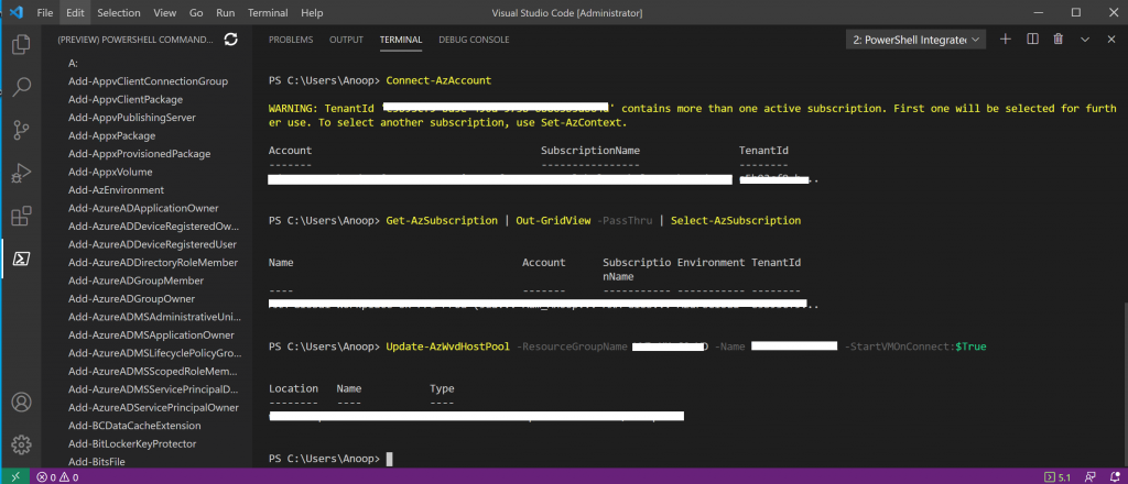 WVD Management Using Visual Studio Code Instead of PowerShell ISE 5