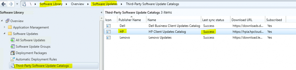 HP catalog sync is completed successfully - Fix SCCM HP Client Updates Catalog Trust Failed Issue | ConfigMgr