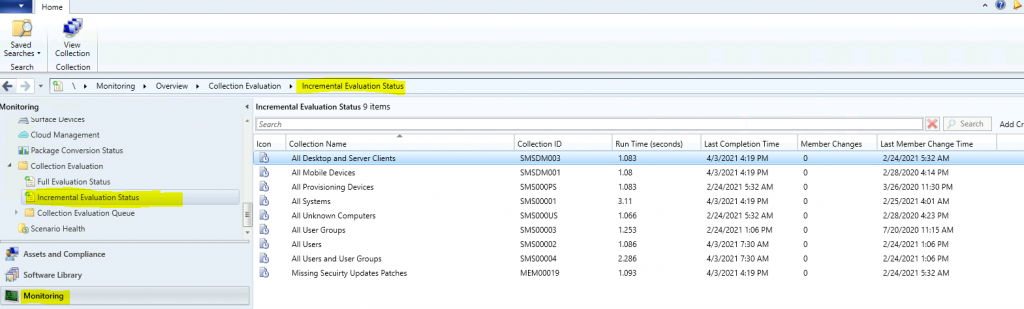 ConfigMgr Collection Full Incremental Evaluation Status Summary from Console | SCCM 1