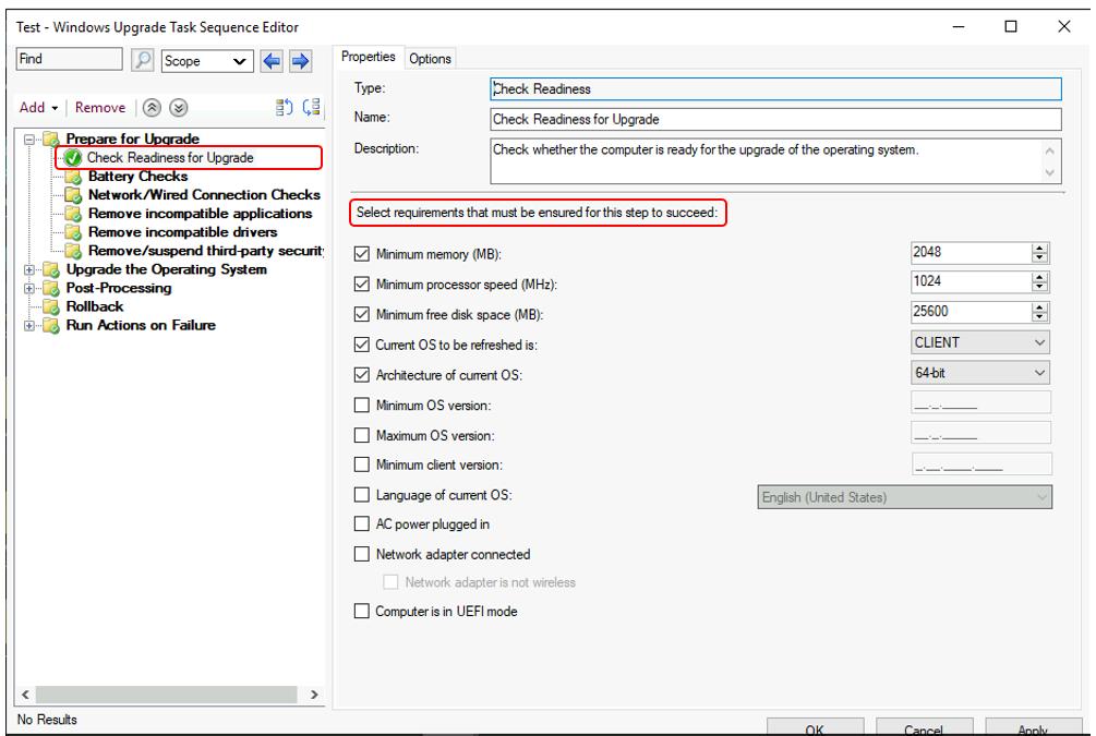 SCCM Task Sequence Check Readiness Step | ConfigMgr