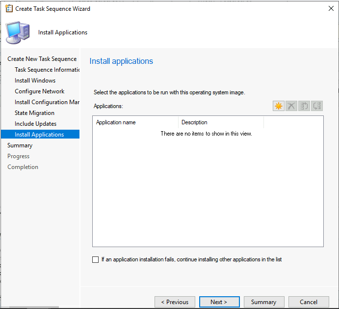 Select the applications to be run with this OS Image
