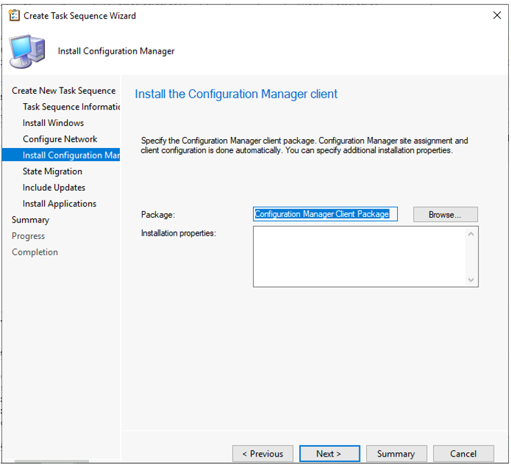Create Task Sequence Wizard - Specify SCCM Client Package
