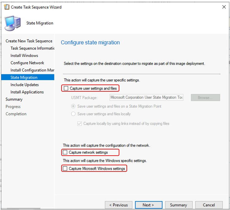 Create Task Sequence Wizard - Configure state migration