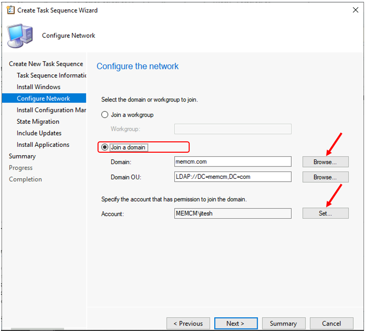 Create Task Sequence Wizard - Configure the network