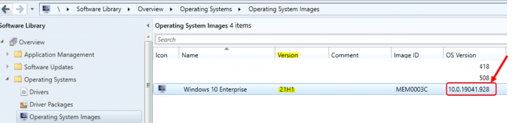 Windows 10 21H1 OS Version Appears Wrong 10.0.19041.928 in SCCM Console Operating Systems Node   ConfigMgr