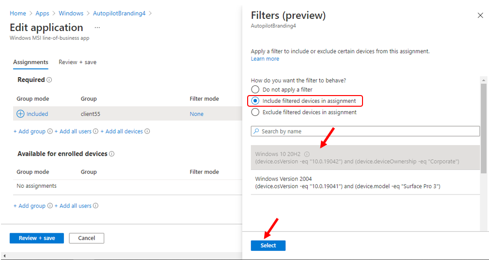 MEM Intune Filter Assignments