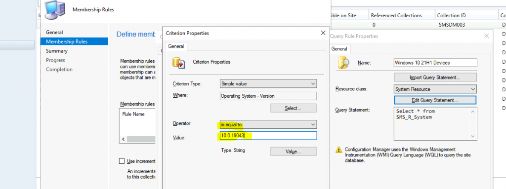 Create SCCM Windows 10 21H1 Device Collection Using WQL Query ConfigMgr | Endpoint Manager 1