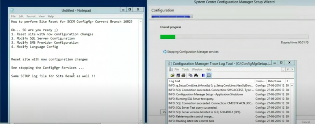 How To Perform Site Reset for SCCM ConfigMgr CB | Configuration Manager Endpoint Manager