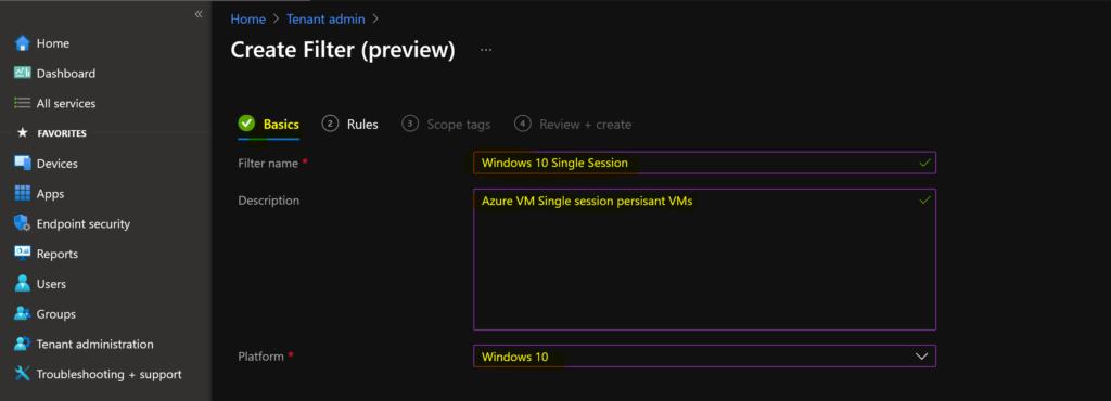 MEM Intune: Create Assignment Filters for Azure Virtual Desktop Single Session Windows 10 | AVD