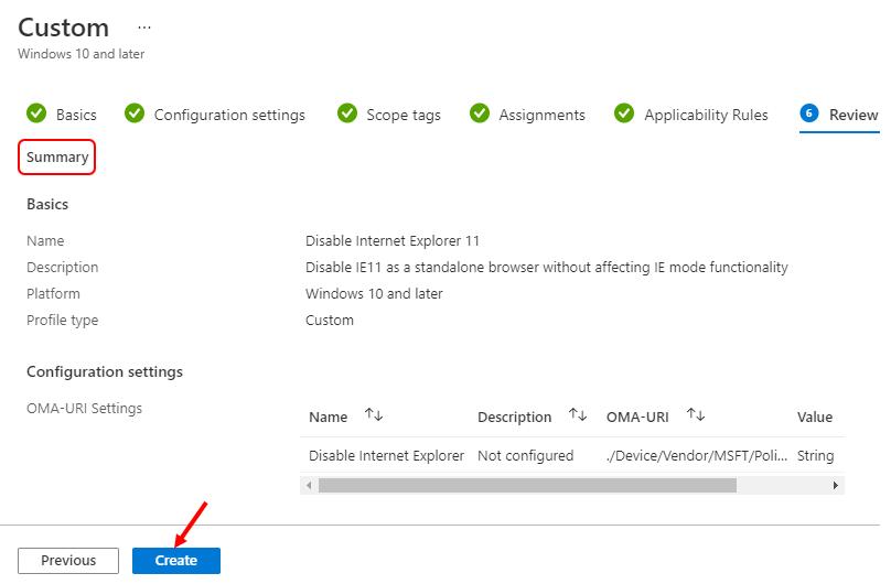 Review Configuration Settings - Disable Internet Explorer
