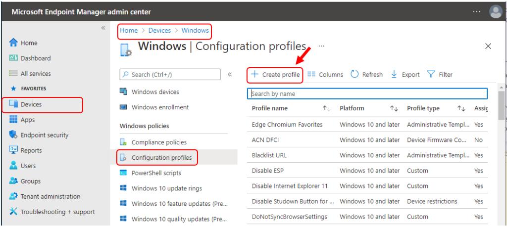 Intune Configuration Profiles - Create Profile