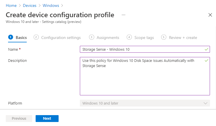 Configure Storage Sense in Intune   Endpoint Manager
