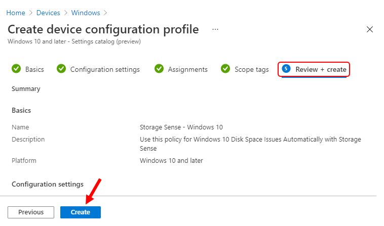 Review + Create - Device Configuration Profile