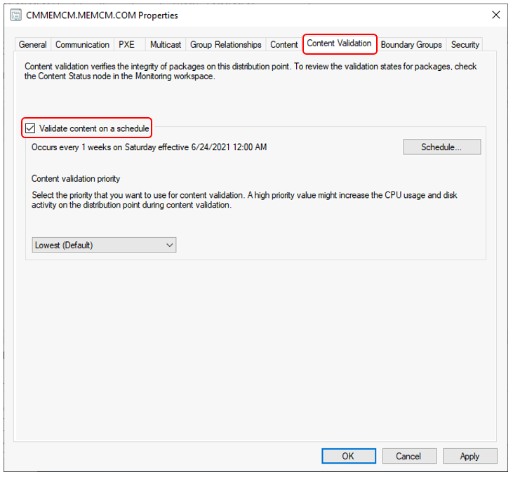 SCCM Validate Content on a schedule | ConfigMgr