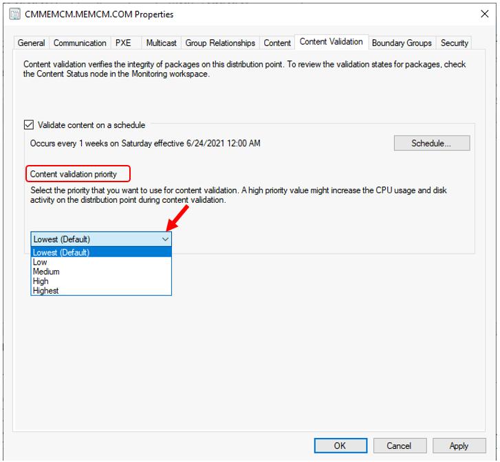 SCCM Content Validation Priority | ConfigMgr