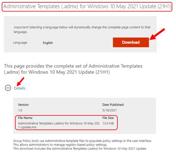 Download Windows 10 Administrative Templates