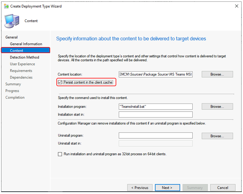 SCCM Persist Content in the Client Cache Option   ConfigMgr
