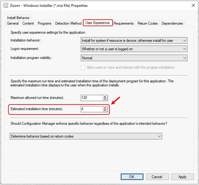 SCCM Application Estimated Installation Time | ConfigMgr
