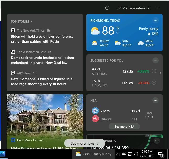 Windows 10 News Interests on the Taskbar