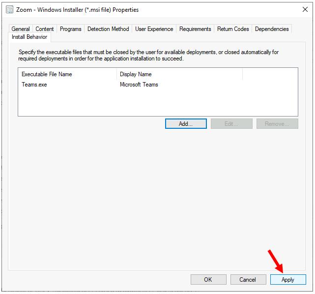 Install Behavior - Application Properties