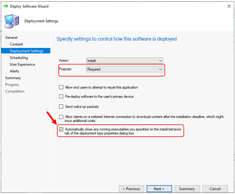 Automatically close any running executables you specified on the install behavior tab of the deployment type properties dialog box