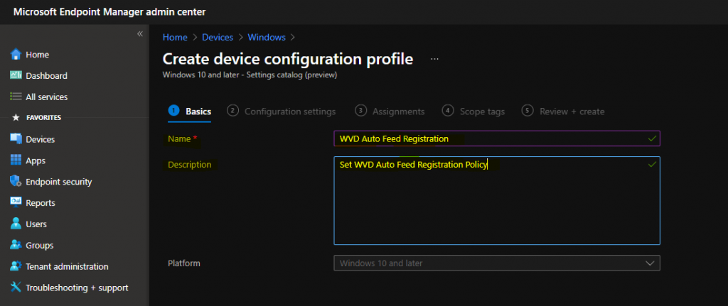 WVD Auto Feed Registration Intune Policy Setup | Default Connection URL Options | Best Auto Subscription Options 1