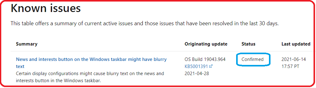 Windows 10 Known Issue: News and Interests Button on the Windows taskbar might have Blurry Text   21H1 1