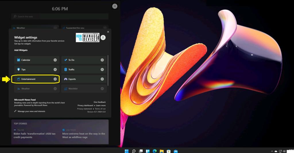 What is Windows 11 Entertainment widget? 1