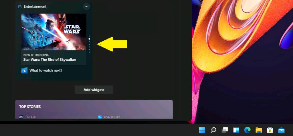 What is Windows 11 Entertainment widget? 2