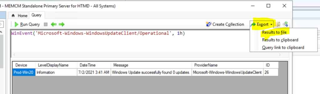 How to Collect Windows Update Logs from SCCM Client Remotely ConfigMgr CMPivot Query for Event Logs