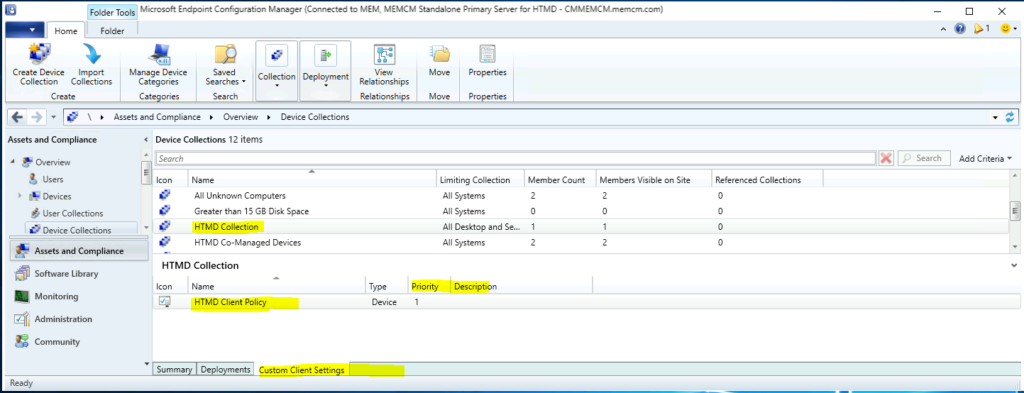 The best method to Find Custom Client Settings for a Collection in SCCM ConfigMgr