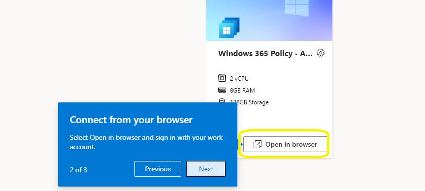 Windows 365 Cloud PC Web Client Experience Walkthrough