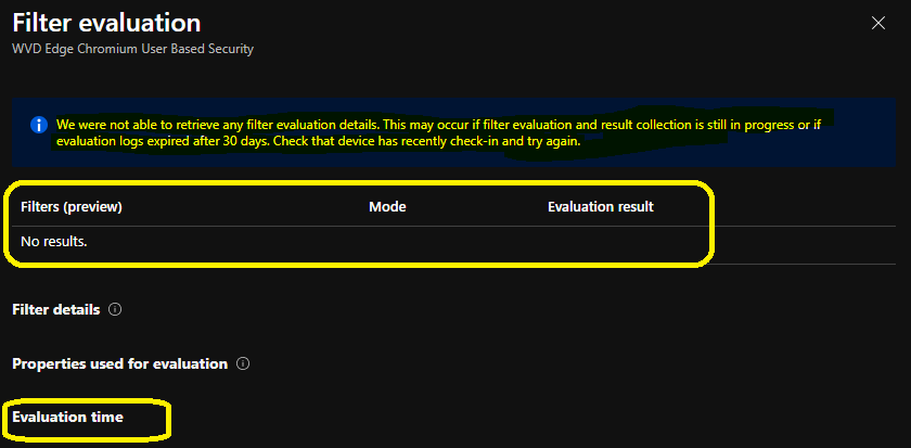 Intune Filter Evaluation Report Options available for Troubleshooting