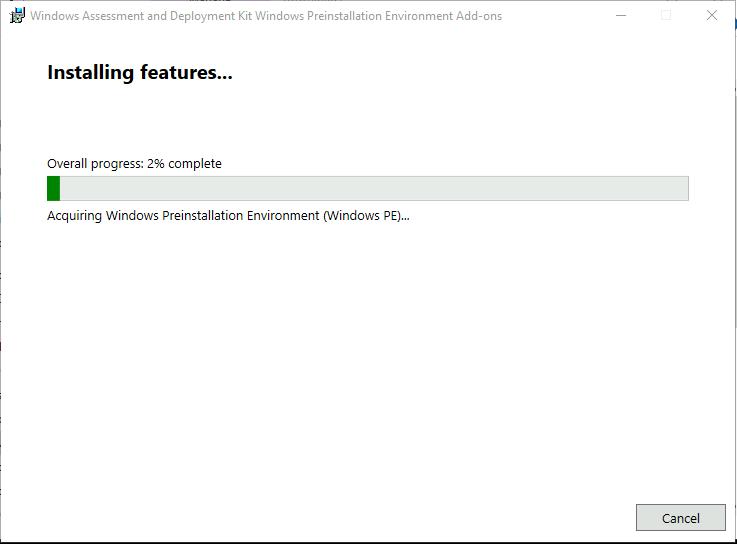 Windows PE Installation Progress
