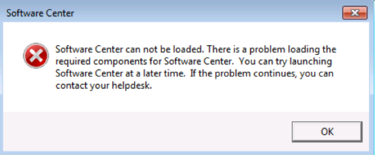 Fix the SCCM Software Center cannot be loaded Issue with ConfigMgr
