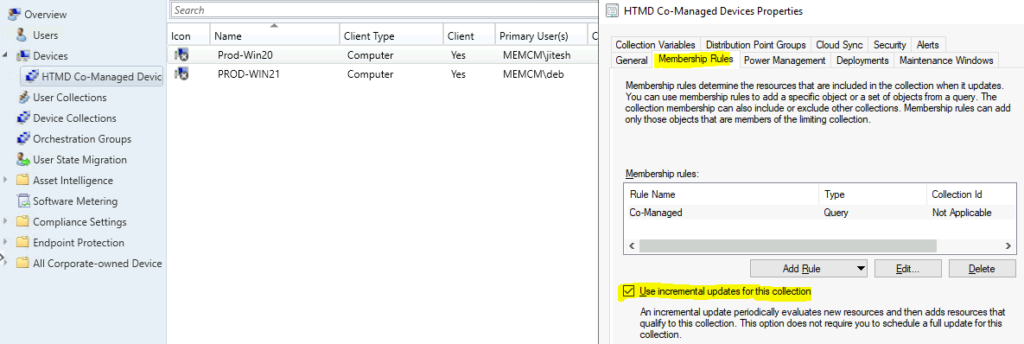SCCM Collection Incremental updates not Working because of not Supported WMI Classes ConfigMgr