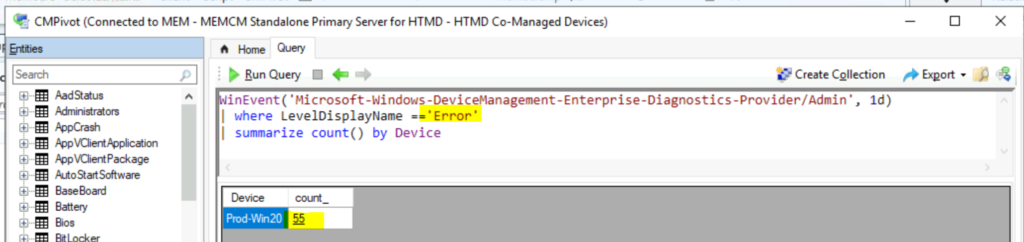 How to Collect Intune Event Logs using SCCM ConfigMgr CMPivot