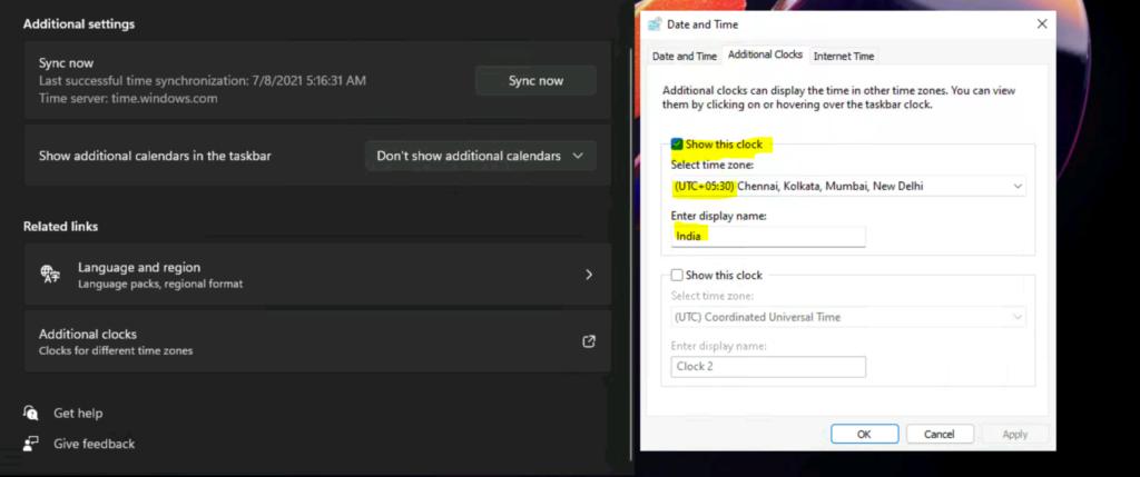 Windows 11: How to add Additional time zone clocks