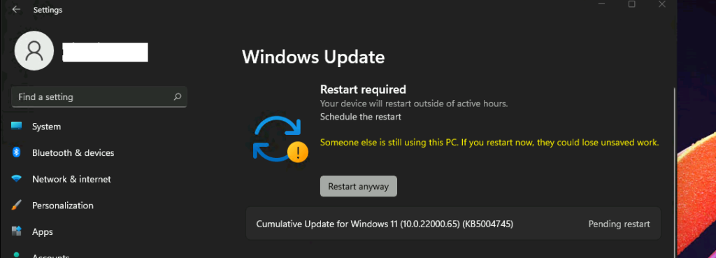 First Windows 11 update experience