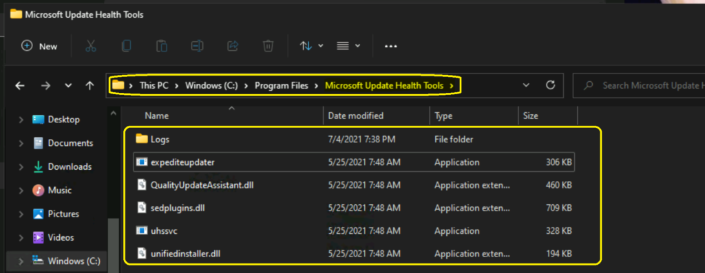 Windows 11 Microsoft Update Health Tools