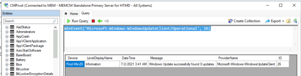 How to Collect Windows Update Logs from SCCM Client Remotely ConfigMgr CMPivot Query Event Logs
