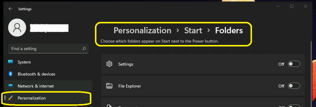 Choose Windows 11 Folders to Appear on Start next to the Power Button How to Customize